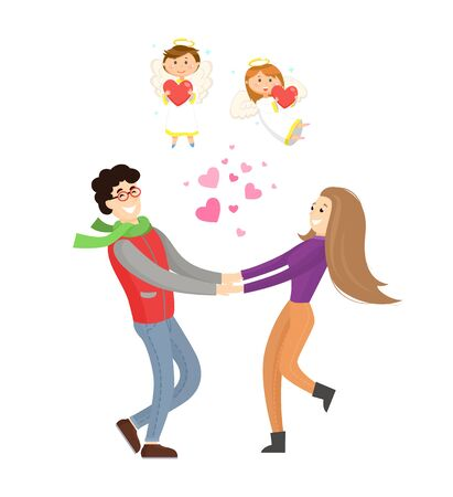 Valentines day, man and womanl holding hands with cupid angels above vector. Couple spinning round with hearts between, boy and girl with halo and wings