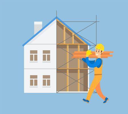 Workman carrying heavy bulky items vector, builder with bricks and blocks wearing helmet and walking on construction of new house estate building isolated