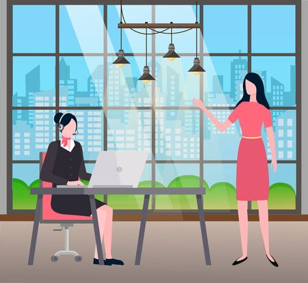 Woman working on laptop, wearing headset. Client talking to assistant to secretary looking at personal computer. Customer center or hotline manager. Person at work vector in flat style illustration