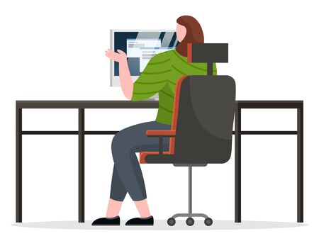 Office worker or manager work on computer alone. Working process of person at office room. Lady sit on chair by table and type on keyboard of device. Vector illustration of workspace in flat style