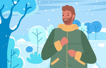 Male spending weekends outdoors, winter landscape scenery. Man wearing warm clothes enjoying frosty weather in park. Snowfall in woods with trees and bushes, bearded personage vector in flat Illustration