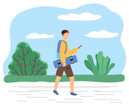 Teenager walking in park carrying skateboard and rucksack chatting via phone. Hipster wearing modern clothes strolling outside using smartphone for communication. Active young boy vector in flat