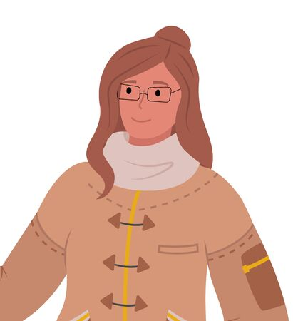 Woman in winter jacket and knitted scarf, wearing glasses. Isolated personage in cold season. Modern outfit for frosty weather. Lady outdoors in wintertime, vector in flat style illustration