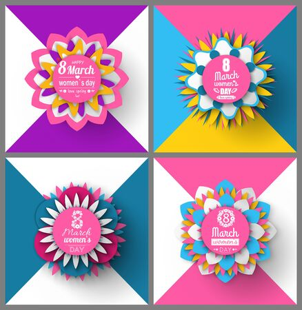 Womens day, 8 March, set of spring greeting card decorated by flowers, pink color of poster with blossom, international holiday, round origami vector