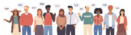 Gruppo di persone che parlano lingue diverse dicendo ciao. Salutare le persone agitando le mani e gesticolando. Rappresentanti di diverse nazioni agitando la mano. Frasi straniere di madrelingua salutano l'etnia