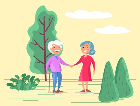 Grandparents strolling together in park or countryside. Man walk with stick and woman help him in it. Grandfather and grandmother happy to spend time together. Vector illustration in flat style