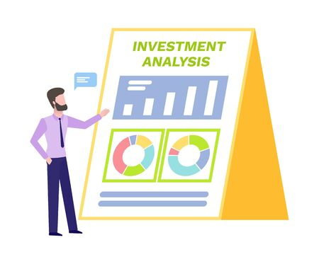 Informational board with charts vector, investment analysis and statistics, man showing possibilities and results on clipboard, pie diagram colored