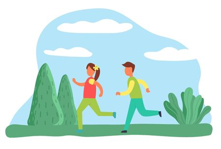 Jogging boy and girl in park, people leading active lifestyle. Sportive male and female characters. Joggers in morning exercising outside. Teenagers in forest with trees and bushes. Vector in flat