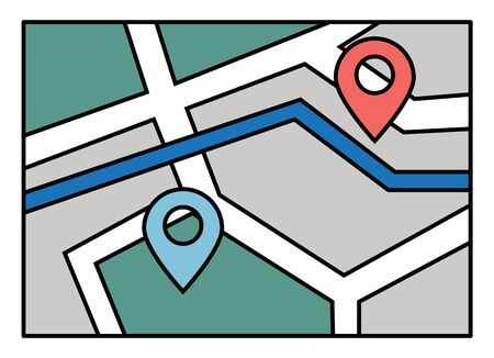 Navigation map for mobile phone application or computer app. Starting point and destination of route. System of finding easy and fast ways in new city. Touristic navigator, vector in flat style Stock Illustratie