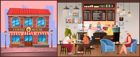 Coffeehouse exterior and interior. Pictures of brick building of coffe house and inside design, room with furniture. Barista stance and place for customers. People relax and meet with friends, vector