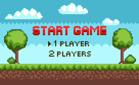 Pixel game vector, players choice 8 bit graphics of scenery for fight. Nature and sky, clouds and trees with grass, soil layers meadow, question for gamers. Pixelated video-game or app game landscape