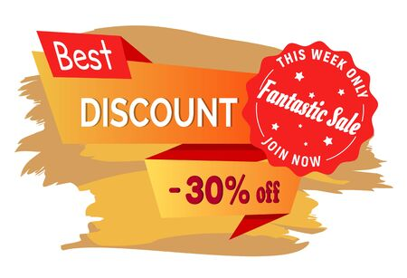 Best discount on fashion sale this week only 30 percent discount isolated advertisement label on brush strokes. Vector illustration of price of tag, badge with seasonal sales, shopping concept