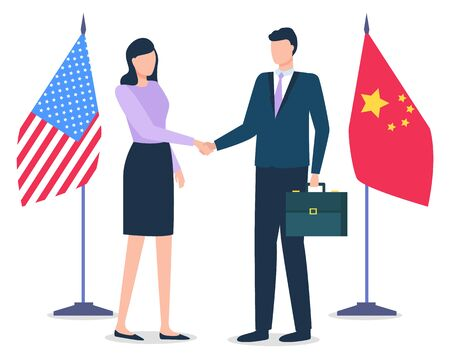 Uomo e donna in piedi insieme, partner negli affari. Cooperazione internazionale tra Stati Uniti d'America e Cina. Bandiere di paesi sullo sfondo. Illustrazione vettoriale in stile piatto Vettoriali
