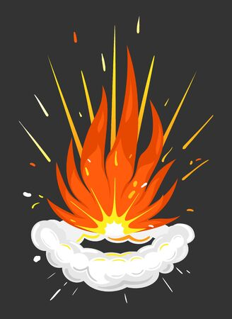 Explosion with flames and smoke. Isolated icon with red and orange colors, explosive element. Dangerous energy, flammable blaze, realistic fireball for game design. Vector in flat style illustration Vektoros illusztráció