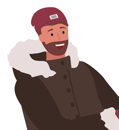 Happy adult male wearing warm hat and jacket with fur for cold season. Smiling man cartoon character closeup view in down jacket with hood. Person with beard in winter clothes portrait vector Illustration
