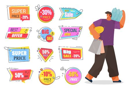 Person walking with food bought in supermarket. Collection of isolated promotional banners with sales and discounts for shoppers. Shops and stores coupons and clearance reductions of price. Sale time