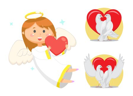 Angel girl vector, child with nimbus and halo holding heart. Doves pigeons as symbol of devotion and purity of love. Saint Valentines day celebration