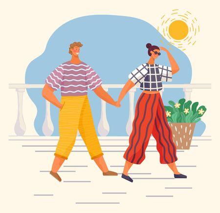 낭만적인 데이트를 하는 커플이나 산책로를 산책하는 친구. 사람들은 화창한 날에 함께 여가 시간을 보냅니다. 남자와 여자는 서로 손을 잡고 거리를 걷습니다. 평면 스타일의 벡터 일러스트 레이 션