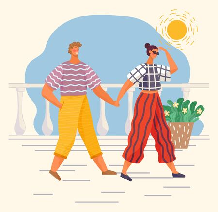 Couple on romantic date or friends strolling on promenade. People spend leisure time together in sunny day. Man and woman hold each other hands and walk on street. Vector illustration in flat style