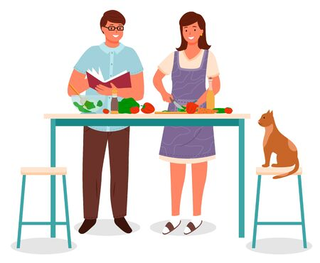 People preparing food at home, isolated character making dish in kitchen. Couple and cat sitting on chair. Woman cutting vegetables, man reading cookbook recipe. Family evening pastime, vector