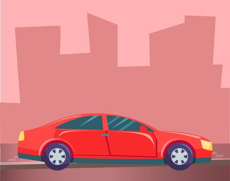 Red small car, vehicle on city background. Sedan or hatchback stand on asphalted road. Automobile with dark and tinted glasses. Pink silhouette of town buildings. Vector illustration in flat style