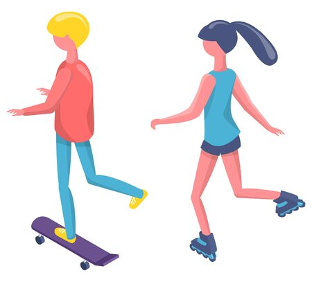 Back view of people skating and rolling, skateboarder and roller, man and woman standing on wheels, human character in sportswear, activity vector