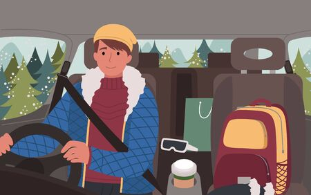 Man driver sitting in car with package and backpack, sunglasses and cup. Male character wearing jacket and hat traveling alone in winter season. Road trip of person in auto near fir-trees vector Illustration