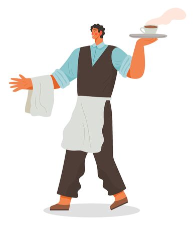 Waiter with apron and tray carrying order for clients. Server with cup of coffee. Male wearing special uniforms isolated character at work. Employee serving food and drinks vector in flat style