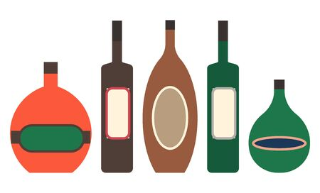 Collection of alcoholic drinks poured in bottles of different shapes and forms. Gin and tequila, rum and whiskey, menu of restaurant or cafe. Beverages set isolated icons of refreshment vector