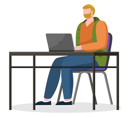Male character working online using laptop for tasks completion. Isolated bearded worker typing info on personal computer. Student learning via internet, courses for distance studies, vector