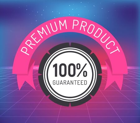 Premium product guaranteed round stamp label with digital net vector. Shopping tag illustration with certified insurance element and 100 hundred percent guarantee. Best product creative sticker