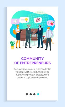 Business meeting with community of entrepreneurs vector, communication between success businessmen in company, hipster animals in suits at training. Website or app slider, landing page flat style