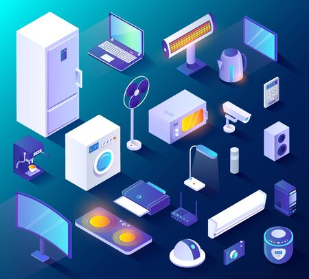 Set of appliances and equipments for smart home. Isolated collection of smart fridge and washing machine, home iot automation system. Camera and modern technologies innovation for house, 3d isometric Ilustracje wektorowe