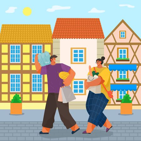 Man and woman carrying bought products from supermarket. Couple loaded with groceries returning home passing houses and buildings in old town. Boyfriend and girlfriend with bags, vector in flat style