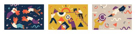 Set of three pictures about cooperation. Teamwork of people that completing puzzle or supporting each other. Geometric ornaments and shapes on poster. Vector illustration of team in flat style 向量圖像