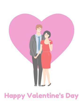 Happy Valentines day poster, adult couple, handsome man in suit and pretty woman in red dress isolated on pink heart. Vector husband and wife,family people