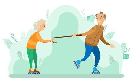 People senior man and woman in park vector, grandfather and grandmother spending time in forest. Skating female holding wooden walking stick flat style Illustration