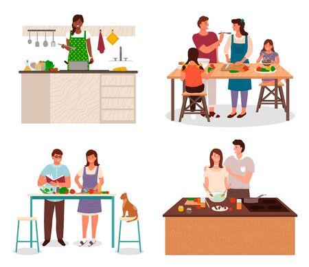 Gente sonriente con niños en delantal de pie junto a la mesa o estufa y cocinando en la cocina. Hombre y mujer cortando verduras para comida vegetariana. Familia de plato hirviendo y haciendo ensalada juntos