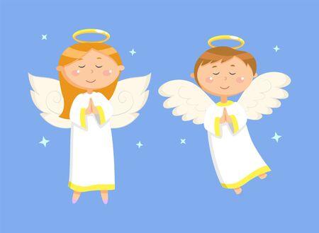 Tarjeta navideña decorada por una niña y un niño rezando brillantes en azul, vista vertical de un par de ángeles voladores con alas y nimbus, personajes con vector de estrellas