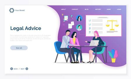 Legal advice app, adviser woman discussing with clients, justice online consultation. Man and woman communication with laptop, legislation vector. Website or webpage template, landing page flat style