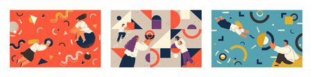People working together concept, man and woman with geometric shapes. Business concept, circles triangles and wavy lines. Employee at job making new project. Communication of co workers vector