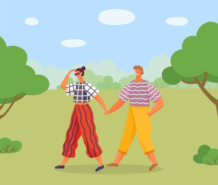 Couple on date or friends meeting. People spend leisure time together in park or forest. Man and woman hold each other hands. Summer landscape with green trees and grass. Vector illustration in flat 스톡 콘텐츠 - 139399022