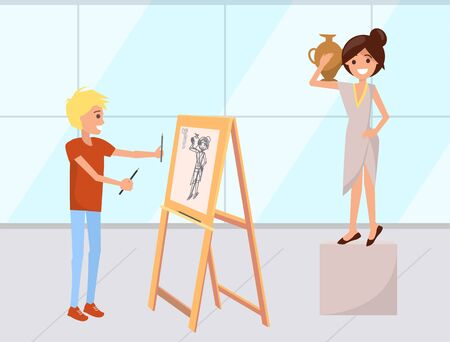 Boy drawing painting using palette vector, student with easel. Artist and model wearing antique greek clothes, woman standing with amphora. Classes in uni Иллюстрация