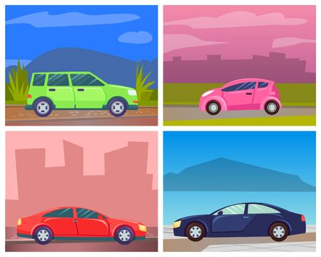 Cars on roads of modern cities or rural areas vector, set of transportation. Oldschool minivan big vehicle, cab service and eco-friendly auto. Automobile by seaside illustration card or stikers