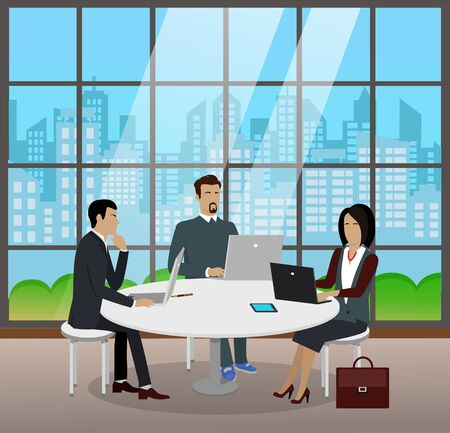 Men and woman sit by table at office room. People talking and discussing about project plan on meeting. Cityscape with skyscrapers outside window. Vector illustration about coworking in flat style