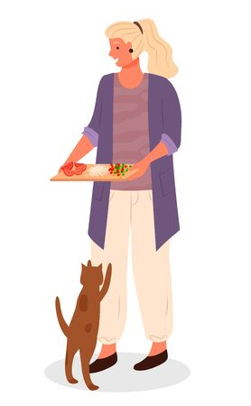 Woman hold cutting board with sliced vegetables for cooking food. Cat jumping and begging food from owner. Blonde woman and her spotted pet isolated on white. Vector illustration in flat style 向量圖像