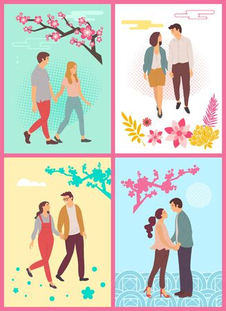 Couples enjoying fair weather of spring vector, man and woman holding hands, people in love walking under cherry blossom trees and sakuras branches