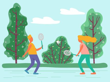 Outdoor activity or sport, girl and guy playing badminton in park vector. Rackets and shuttlecock, meadow and nature, sporting equipment, trees and bushes. Children play game, having fun illustration
