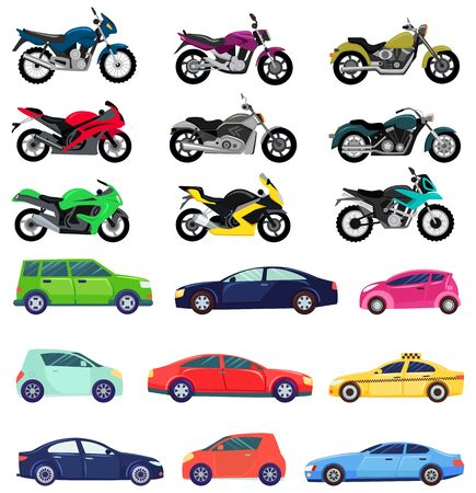 Vans and sports cars vector, isolated set of transportation. Vehicles transport of different types and shapes. Motorbike and bikes with seat, lorry. Buy new car and moto bike. Flat cartoon