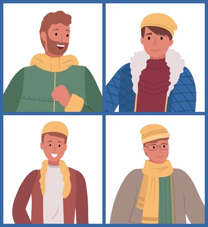 Set of four picture with men. People standing and smiling isolated on white background. Guys dressed in warm clothes like sweater and overcoat, hat and scarf. Vector illustration in flat style